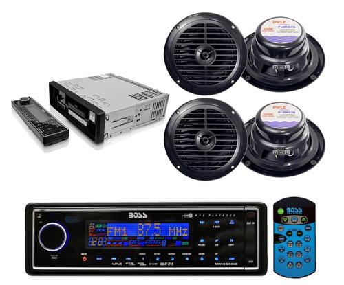 "Black Marine Yacht USB/MP3 AM/FM Radio AUX SD Card Player 4 X 6.5"" speakers Pkg - RBMPB1723"