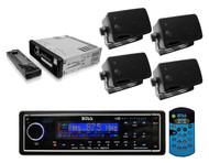 Boss Blk Audio MR1560DIB Marine AM/FM USB/MP3 Radio + 4 Black 200W Box Speakers - RBMPB1731