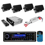 Marine AM/FM USB/MP3 AUX Radio Black Receiver 4 Black Box Speakers + 800W Amp - RBMPB1732