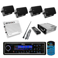 BOSS BLACK AM/FM USB AUX Audio Receiver 4 Box Speakers Antenna with 400W Amp - RBMPB1733
