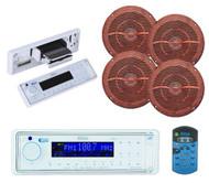 "Great Marine AM/FM USB AUX Receiver and 4x 6.5"" Marine Wood Grain Like Speakers - MPB5619"