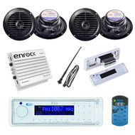 BOSS Marine Waterproof USB AUX AM/FM Receiver + 400W Amp 4 Speakers And Antenna - MPB5625