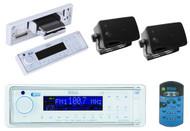 InDash Marine Yacht MP3 Digital Media Receiver + 2x Black 200W 3.5 Box Speakers - MPB5630