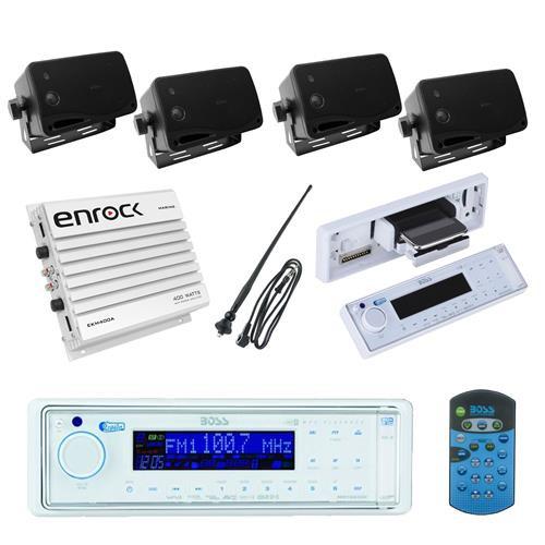 BOSS AM/FM USB AUX Audio Radio Receiver + Antenna + 4 Box Speakers and 400W Amp - MPB5633