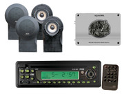 Marine In Dash AM/FM USB/SD iPod AUX Receiver Stereo 4 Black Speakers/Amplifier
