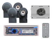 "AMB600W CD USB iPod iPhone Bluetooth Stereo 2 Pair 5"" Black Speakers & 1600W Amp"