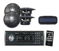 "Indash Marine Boat CD/MP3/USB Receiver W/Bluetooth+ 4 x 4"" Black Speakers,Cover"