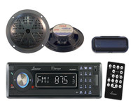 "CD MP3 AM/FM USB SD Black Radio w/2  5.25"" Black 100W Speakers and Radio Cover"