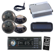 "Marine Yacht CD MP3 USB SD AM/FM Radio w/Antenna, 5.25"" Black Speakers,Amp,Cover"