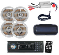 """Marine AUX SD USB AM/FM CD Receiver w/Cover, Amp, Antenna, Silver 5.25"""" Speakers"""