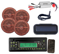 New Pyle Marine CD/MP3 Player w/Cover, 4 Wood Look Speakers, 800W Amp,Antenna