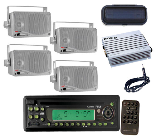 new outdoor black radio cd mp3 player w remote cover amp. Black Bedroom Furniture Sets. Home Design Ideas
