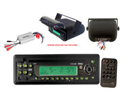 Pyle Black Boat CD Radio Player, 4 Ch 800W Amp, Universal Marine Stereo Housing