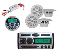 "800W Amp, Marine Remote,4x 4"" White Speakers + New Pyle Boat CD Mp3 360W Radio"