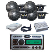 "8x-4"" Black Speakers,Antenna,8"" Subwoofer,400W Amp+ New Marine Pyle CD Mp3 Radio"