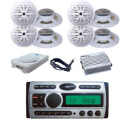 "8x 5.25"" White Speakers, Antenna, Amp,8""  Subwoofer+ New Marine CD AM/FM Radio"