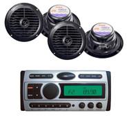 "New Pyle Marine CD Mp3 AM FM Receiver + 4x 6.5"" Black Waterproof 120W Speakers"