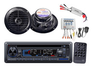New Marine AM/FM USB/SD iPod AUX Receiver Stereo 800W Amp 2 Speakers & PA System