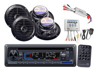 PLCD33MR Marine AM/FM USB/SD iPod AUX Receiver Stereo 4 Speakers/Amp + PA System
