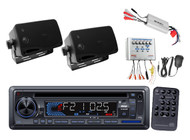 New Pyle Marine AM/FM USB/SD AUX Receiver Stereo 2 Speakers 800W Amp + PA System