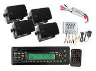 New AM/FM-MPX IN-Dash CD/MP3/Detach Radio 4  Speakers 800W Amp & PA Boat System