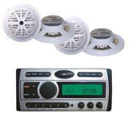 "4x-5.25"" White 100W Marine Speakers + PLDMR87 Pyle Mp3 CD DVD AM FM Marine Radio"