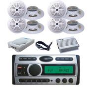 "8"" Subwoofer,8x 5.25"" White Speakers,Amp,Antenna + New Marine DVD CD AM FM Radio"