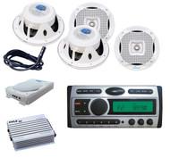 "Amp,4x White Lanzar 6.5"" Speakers,8"" Subwoofer,Antenna + Pyle Mp3 FM AM CD Radio"