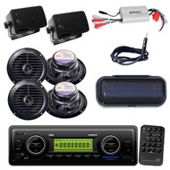 800W Amp,6 Black Speakers, Cover+ Marine Weatherband USB AUX SD Boat Receiver