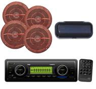 4-Wood Like Speakers, Radio Cover + New PLMR87WB Marine AM/FM AUX WB SD Receiver