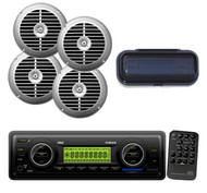 """4 Silver 6.5"""" Speakers,Cover+ New Marine Weather Band SD USB Mp3 200W Receiver"""