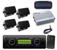 New Boat Car WB USB SD AM/FM Radio+ Antenna, 4 Blk Mini Speakers,400W Amp,Cover