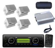Antenna,Amp,4x 200W White Mini Speakers,Cover+Pyle Marine WB AUX SD USB MP3 Unit