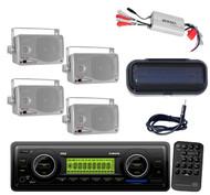 New Marine WB AUX AM/FM Radio + 800W Amp,4 Silver Mini Speakers,Cover,Antenna
