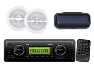 "6.5"" White Marine Speakers+ Radio Cover+ PLMR87WB AUX MP3 SD USB AM/FM Receiver"
