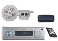 """AQCD60BTS Marine Boat CD/MP3 AM/FM Silver Stereo W/Bluetooth + Cover,4"""" Speakers"""