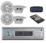 """In Dash Marine Boat CD/MP3/USB Receiver W/Bluetooth+ 4 x 4"""" White Speakers,Cover"""