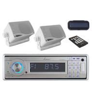 "AQCD60BTS Bluetooth CD USB AUX Radio + 2x White 3.5"" 200W Mini Speakers+ Cover"