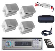 Bluetooth Marine Lanzar CD USB SD Radio+Antenna,Amp,Cover,4X White Mini Speakers