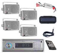 Lanzar AUX SD USB AM/FM CD Radio & 800W Amp,Antenna,Cover,4x Silver Box Speakers