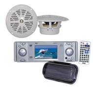"New PLDMR3U Boat CD/DVD Receiver w/3'' Built In Monitor,2 4"" Speakers+ 400W Amp"