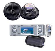 "Pyle In-Dash Marine CD/DVD Receiver w/3'' Built In Monitor+5.25"" Black Speakers"