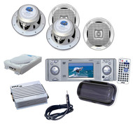 """Boat Yacht Pyle DVD CD Radio Player with 800W Amp+ Lanzar White 6.5"""" Speakers"""