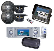 "Anti-Glare Black Monitor,4"" Black Speakers + PLDMR3U DVD CD Receiver Weatherband"