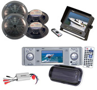 """Pyle Marine DVD CD Player w/3"""" Monitor,5.25'' Blk Speakers,LCD Monitor,800W Amp"""
