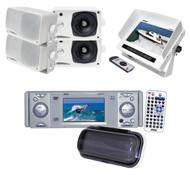 "PLDMR3U Marine CD DVD Player w/3""Monitor+ 4 White 200W Speakers, 7"" LCD Monitor"