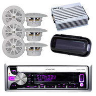 "New Boat Radio USB AUX Input Pandora w/6 x 4"" White Speakers, 400W Amp, Cover"