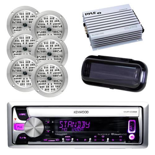"New Marine 200W Kenwood CD Radio AUX USB+6 x 4"" Silver Speakers, 400W Amp, Cover"
