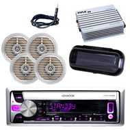 Kenwood CD Radio Receiver AUX USB w/4 Silver Speakers, 400W Amp, Antenna, Cover