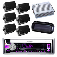 New Kenwood Radio CD USB AUX Receiver w/6 Black Box Speakers, Amplifier, Cover